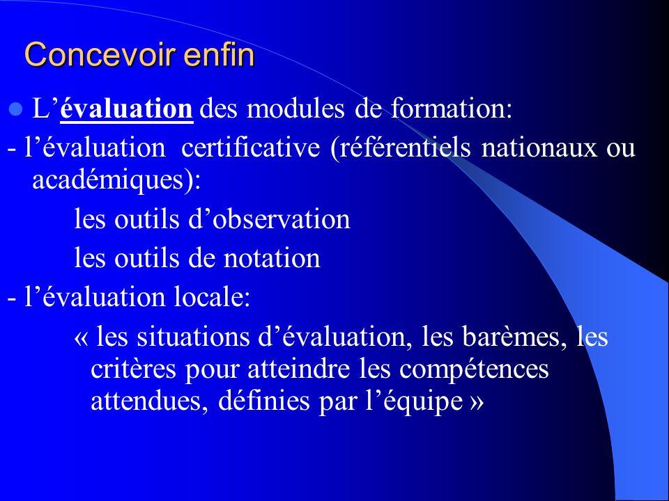Concevoir enfin L'évaluation des modules de formation:
