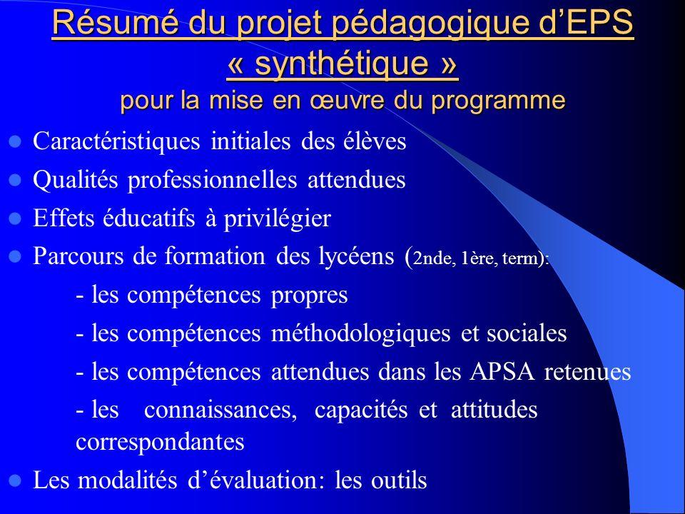 Résumé du projet pédagogique d'EPS « synthétique » pour la mise en œuvre du programme