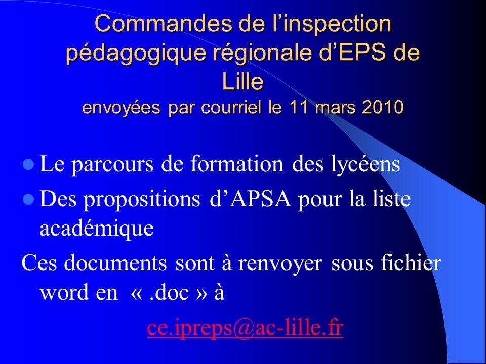 Commandes de l'inspection pédagogique régionale d'EPS de Lille envoyées par courriel le 11 mars 2010
