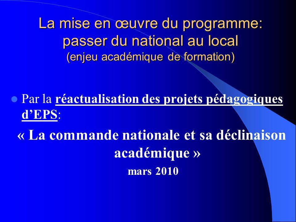 « La commande nationale et sa déclinaison académique »