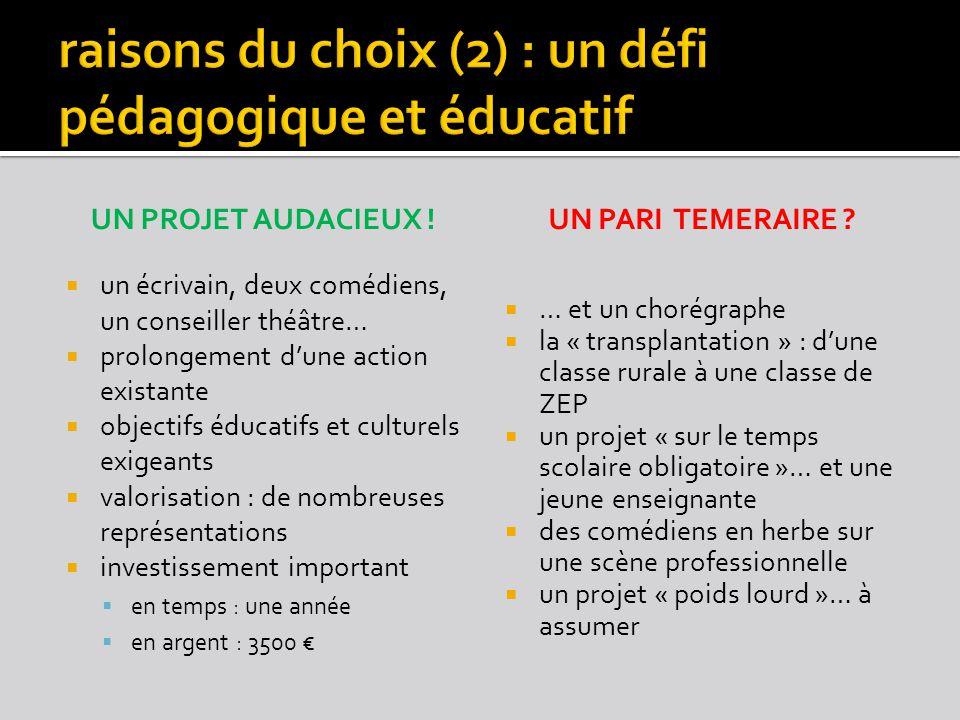 raisons du choix (2) : un défi pédagogique et éducatif