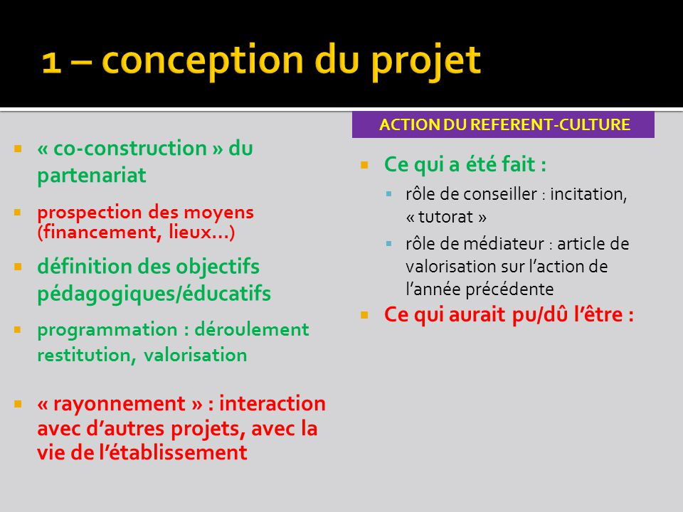 ACTION du rEFERENT-CULTURE