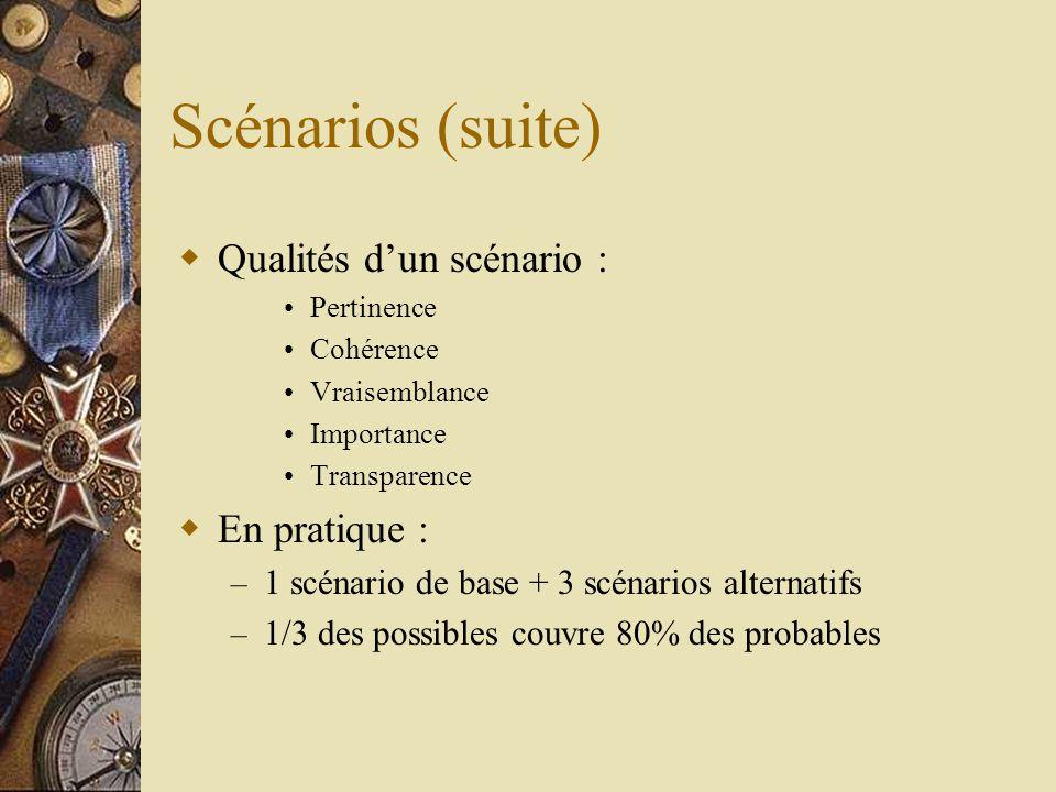 Scénarios (suite) Qualités d'un scénario : En pratique :
