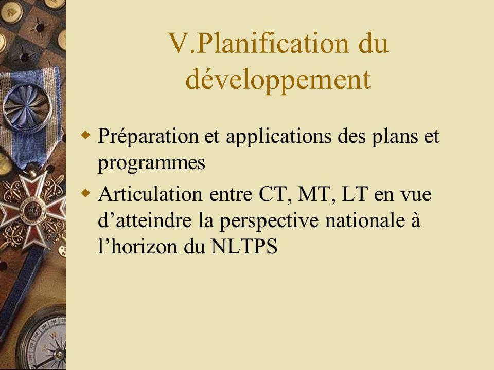 V.Planification du développement