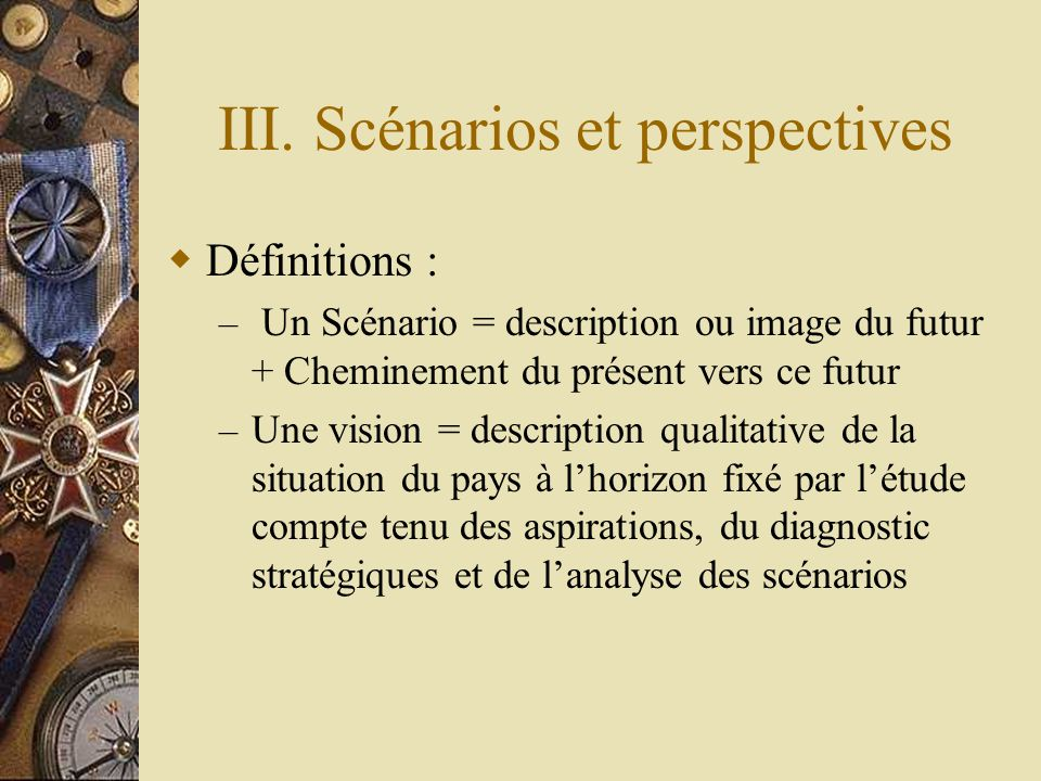 III. Scénarios et perspectives