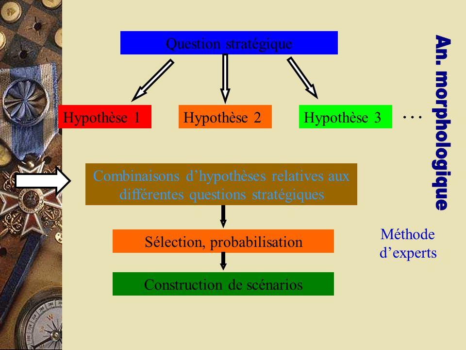 … Question stratégique Hypothèse 1 Hypothèse 2 Hypothèse 3