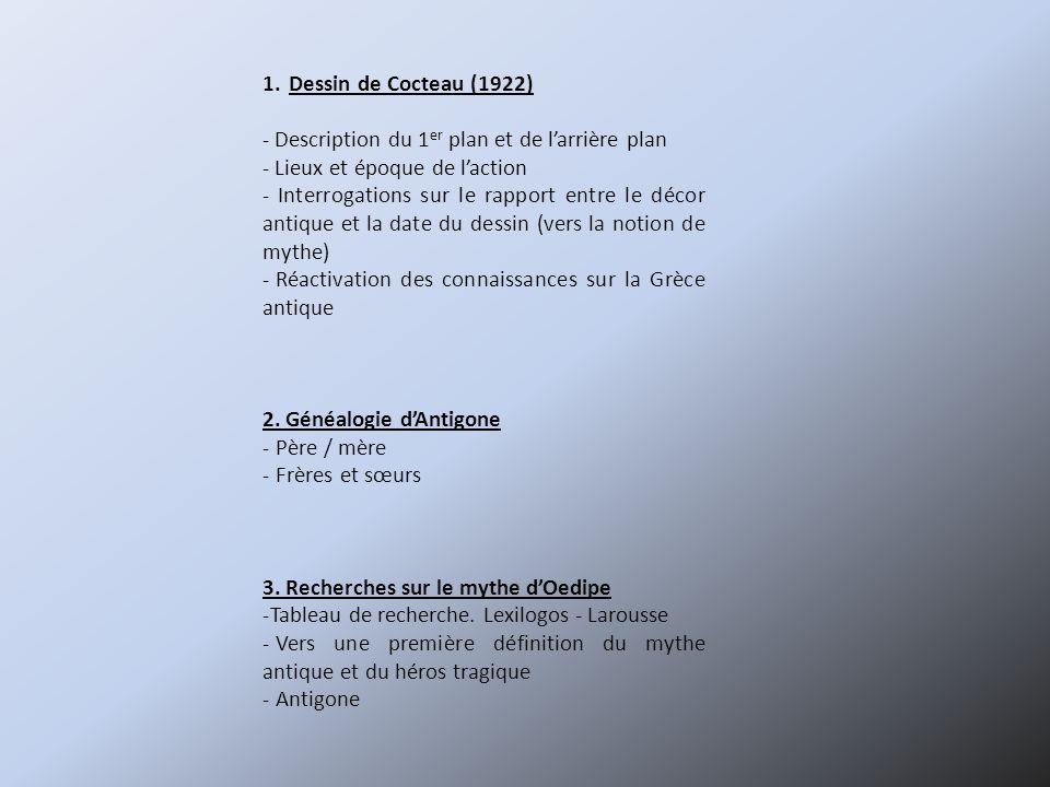 Dessin de Cocteau (1922) - Description du 1er plan et de l'arrière plan. - Lieux et époque de l'action.