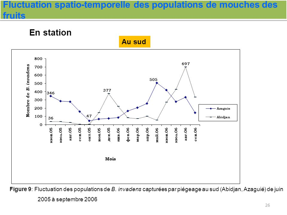 Fluctuation spatio-temporelle des populations de mouches des fruits