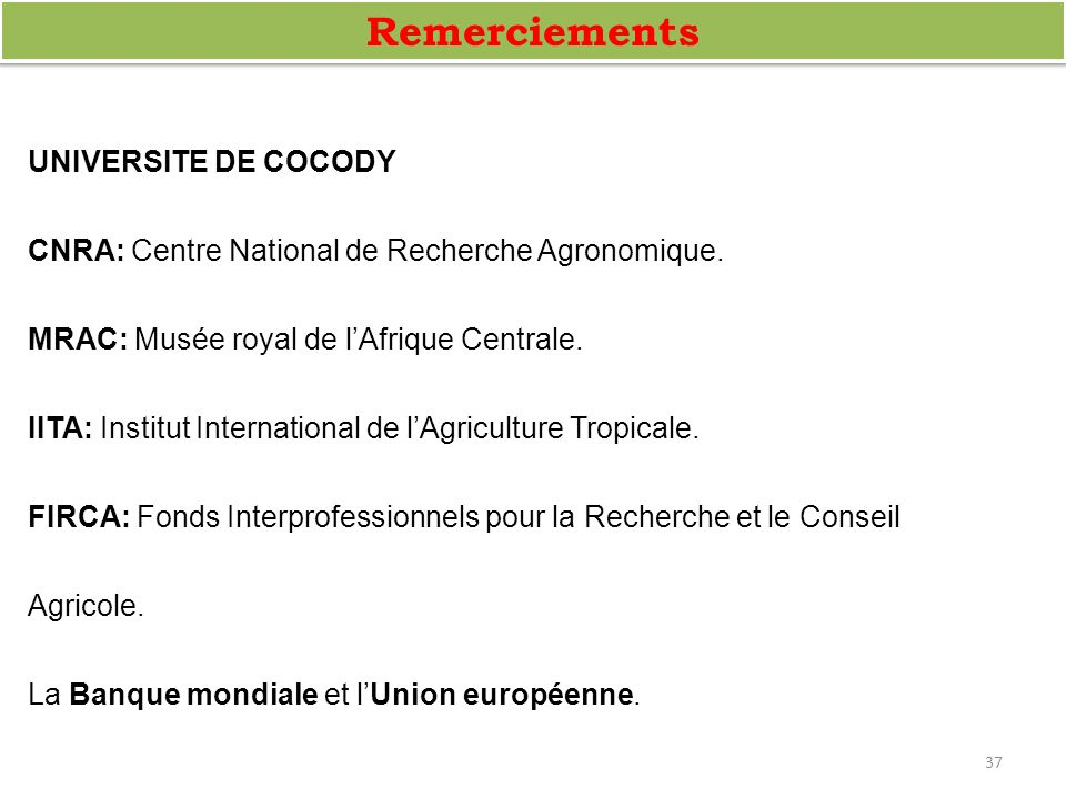 Remerciements UNIVERSITE DE COCODY