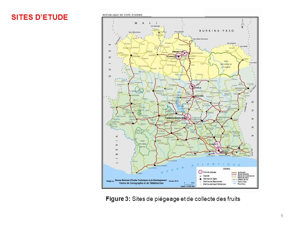 SITES D'ETUDE Figure 3: Sites de piégeage et de collecte des fruits