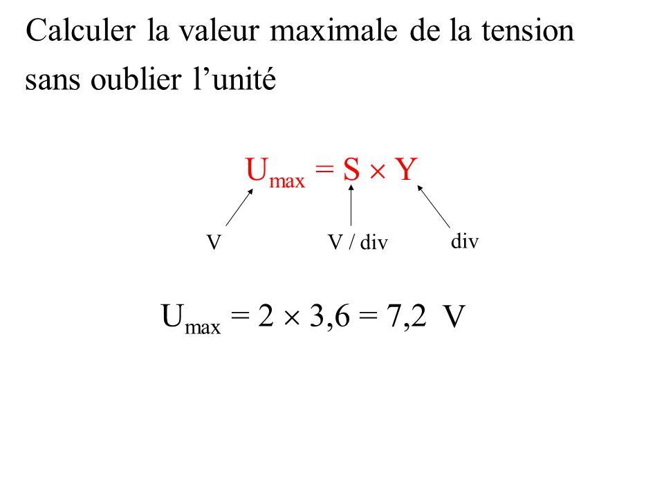 Calculer la valeur maximale de la tension sans oublier l'unité
