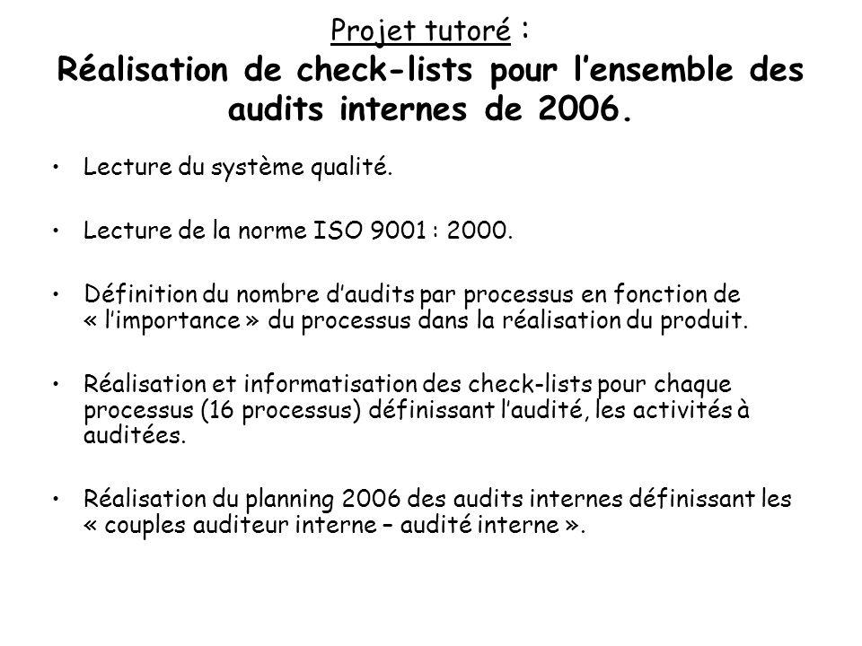 Projet tutoré : Réalisation de check-lists pour l'ensemble des audits internes de 2006.