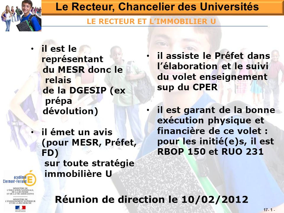 LE RECTEUR ET L'IMMOBILIER U Réunion de direction le 10/02/2012