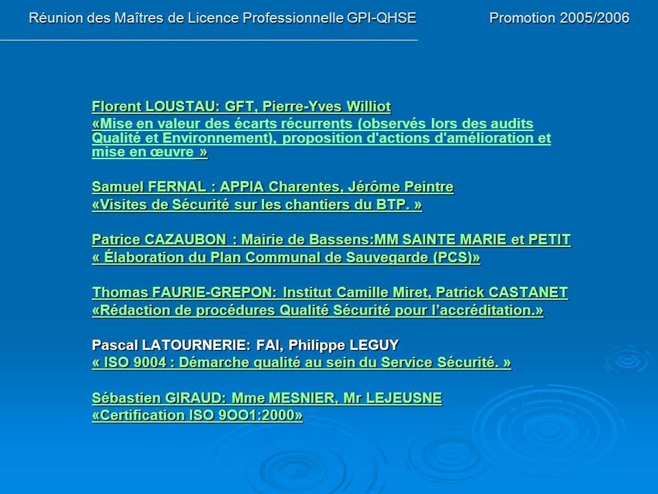 Réunion des Maîtres de Licence Professionnelle GPI-QHSE