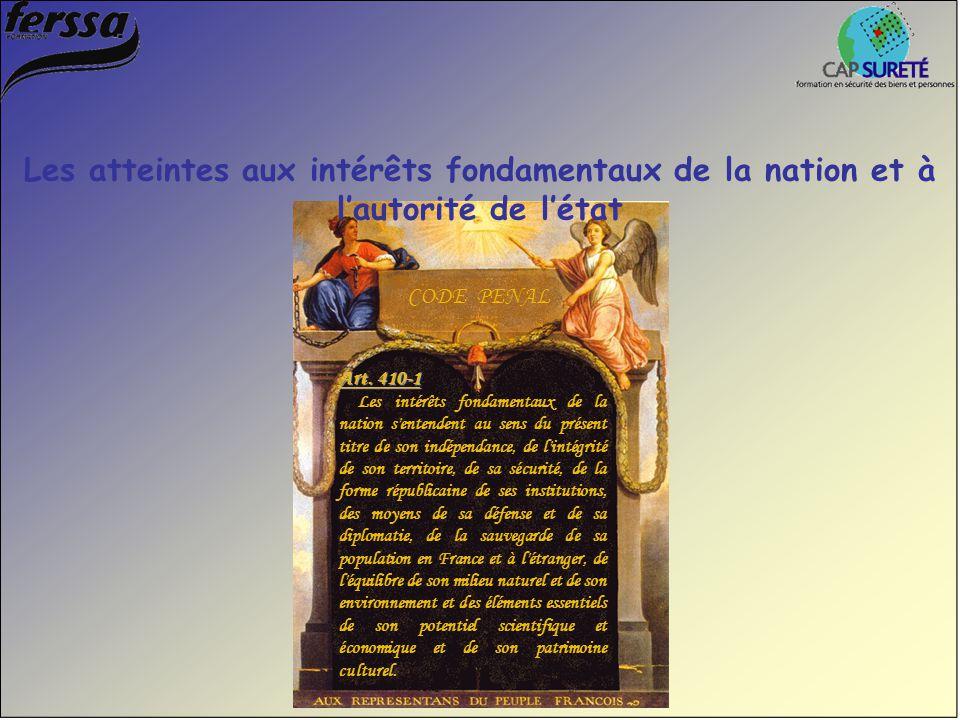 Les atteintes aux intérêts fondamentaux de la nation et à l'autorité de l'état