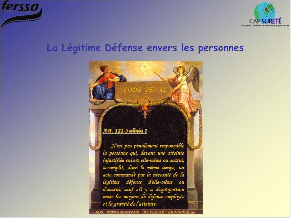 La Légitime Défense envers les personnes