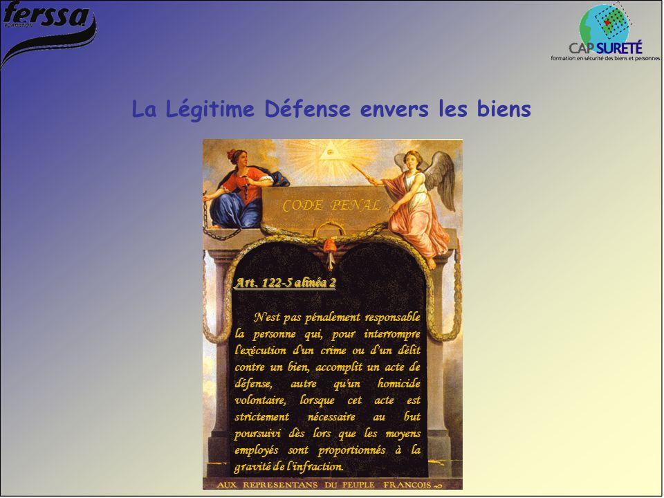 La Légitime Défense envers les biens