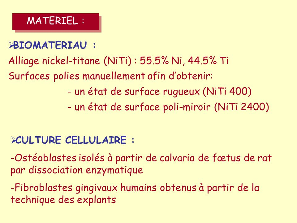 MATERIEL : BIOMATERIAU : Alliage nickel-titane (NiTi) : 55.5% Ni, 44.5% Ti. Surfaces polies manuellement afin d'obtenir: