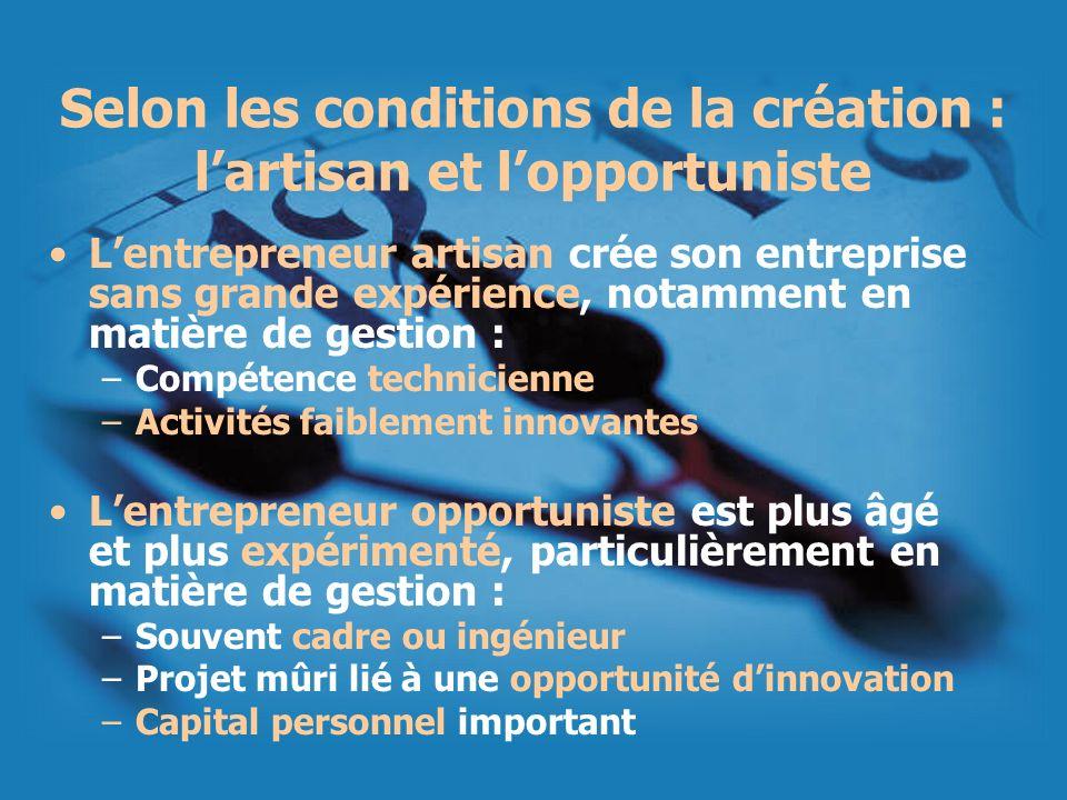 Selon les conditions de la création : l'artisan et l'opportuniste
