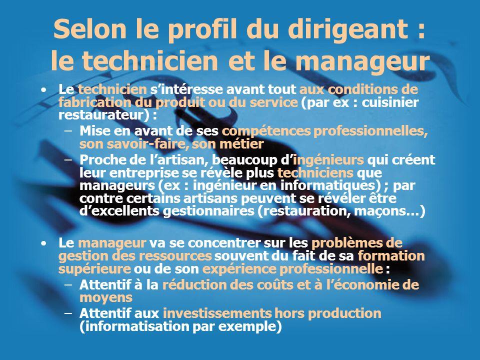Selon le profil du dirigeant : le technicien et le manageur