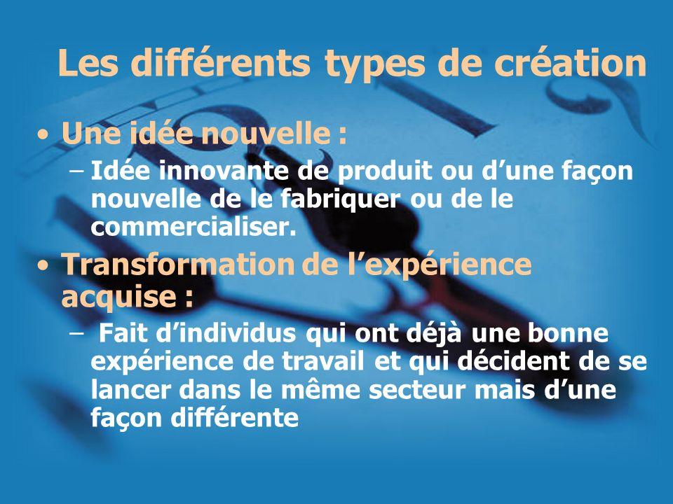 Les différents types de création
