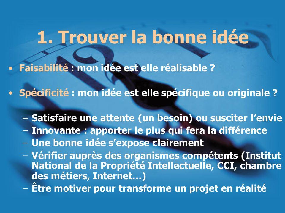 1. Trouver la bonne idée Faisabilité : mon idée est elle réalisable