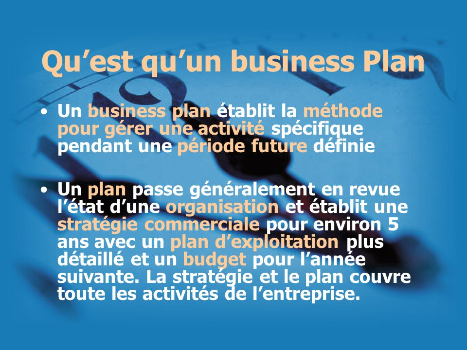 Qu'est qu'un business Plan
