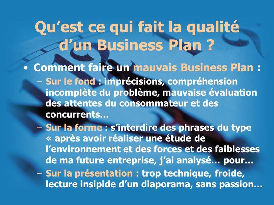 Qu'est ce qui fait la qualité d'un Business Plan