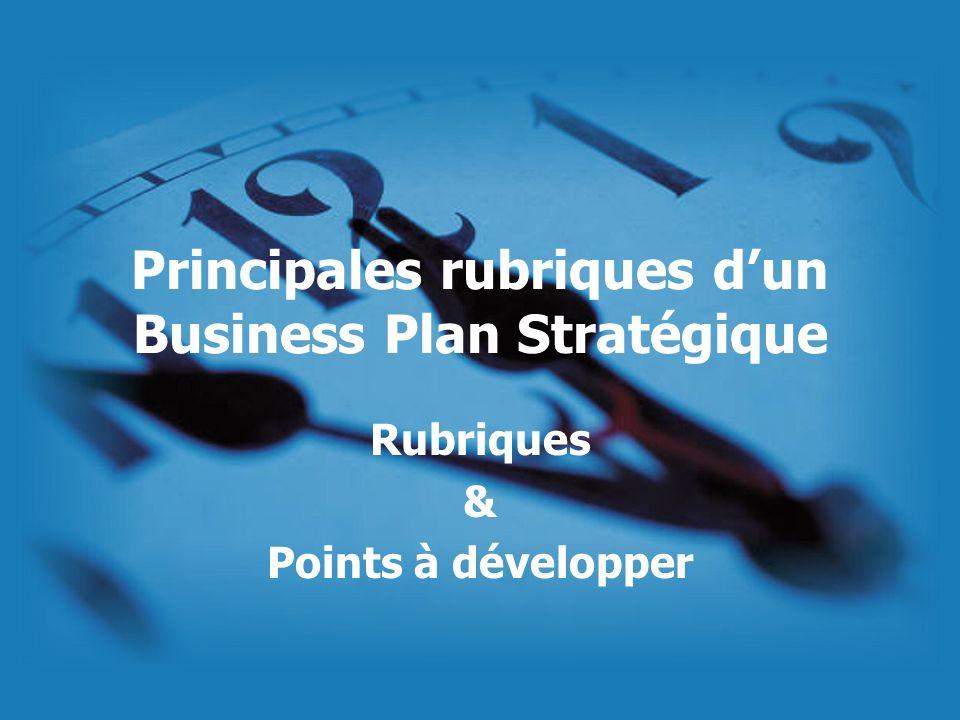 Principales rubriques d'un Business Plan Stratégique