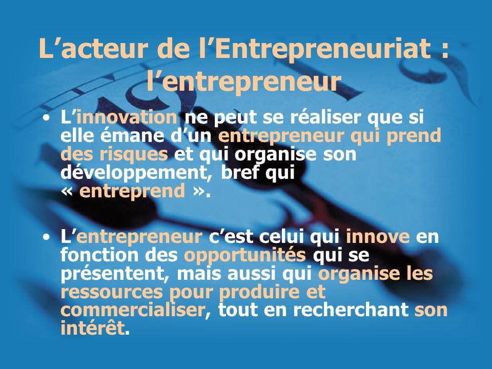 L'acteur de l'Entrepreneuriat : l'entrepreneur