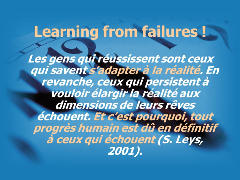Learning from failures !