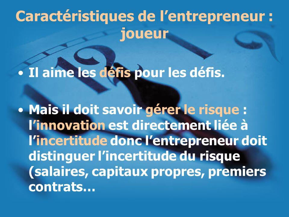 Caractéristiques de l'entrepreneur : joueur