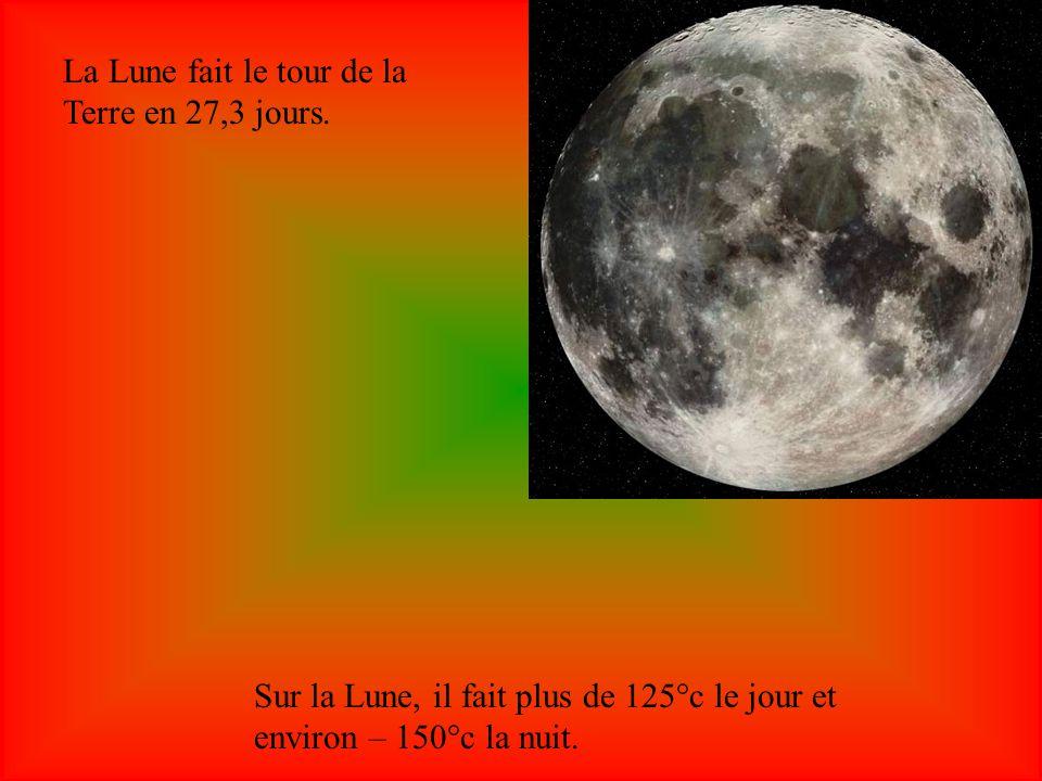 La Lune fait le tour de la Terre en 27,3 jours.