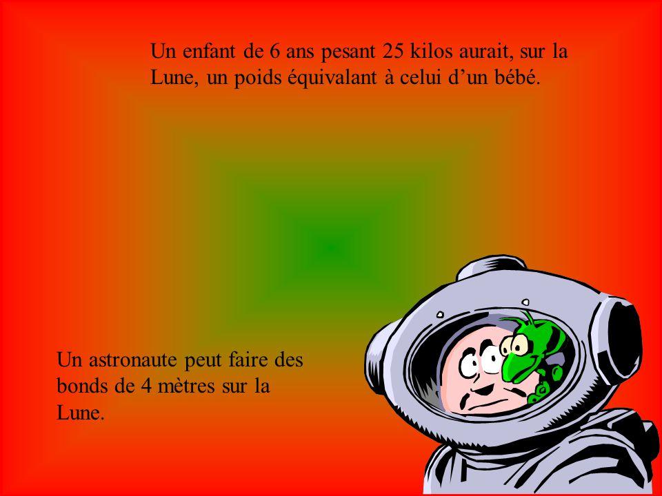 Un enfant de 6 ans pesant 25 kilos aurait, sur la Lune, un poids équivalant à celui d'un bébé.