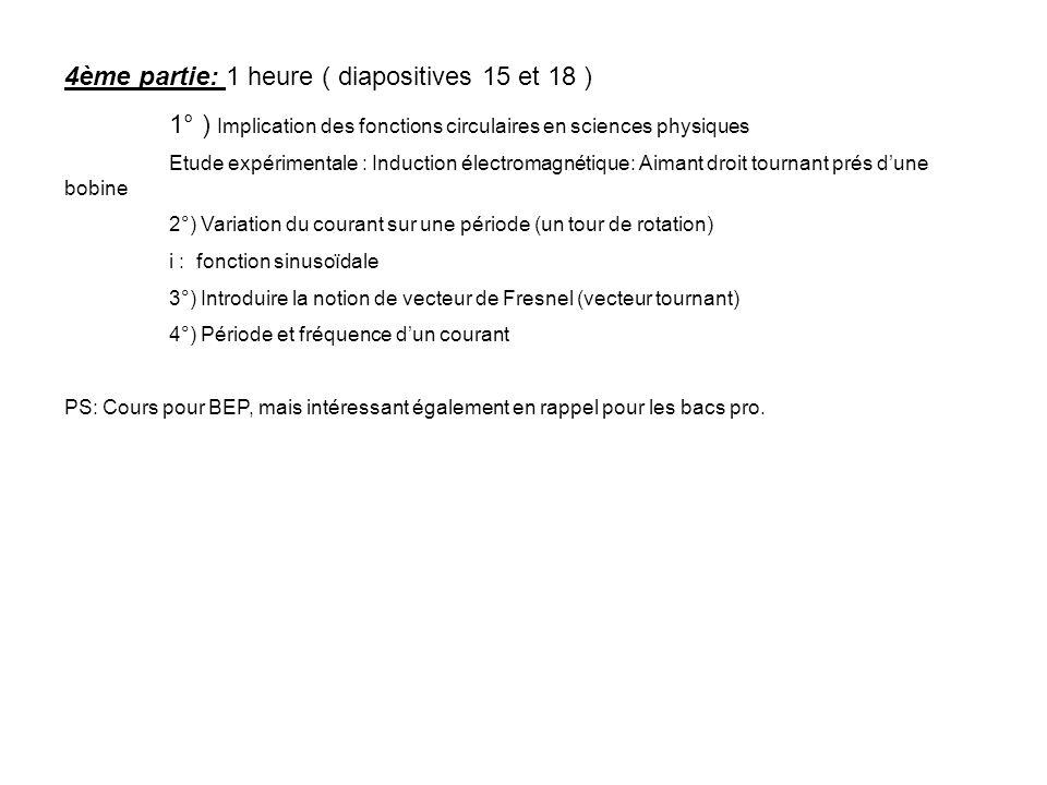 4ème partie: 1 heure ( diapositives 15 et 18 )