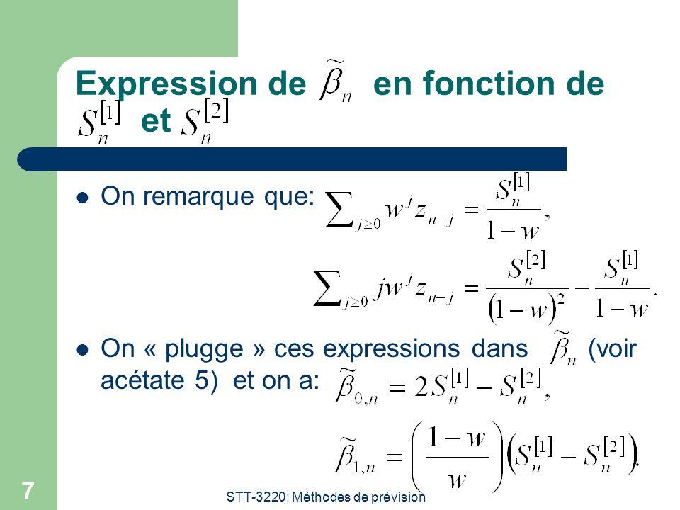 Expression de en fonction de et