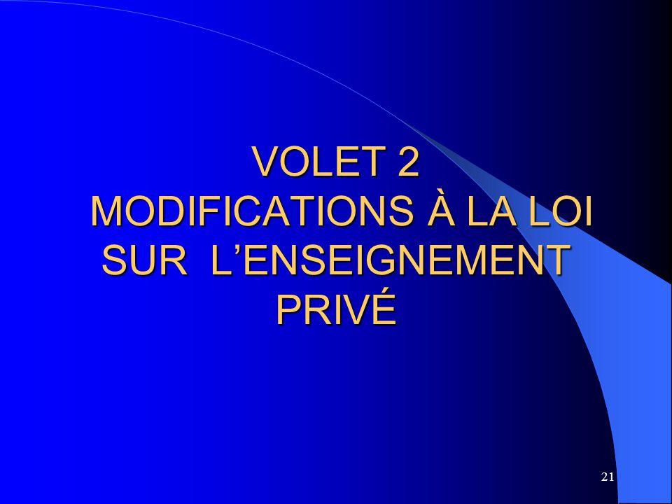 VOLET 2 MODIFICATIONS À LA LOI SUR L'ENSEIGNEMENT PRIVÉ