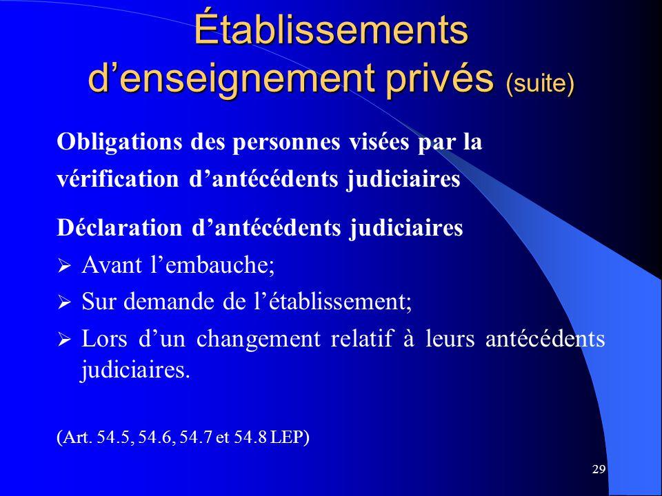 Établissements d'enseignement privés (suite)