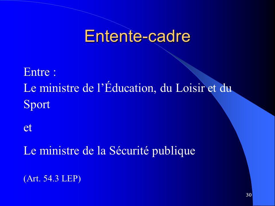 Entente-cadre Entre : Le ministre de l'Éducation, du Loisir et du