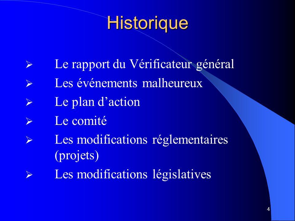 Historique Le rapport du Vérificateur général