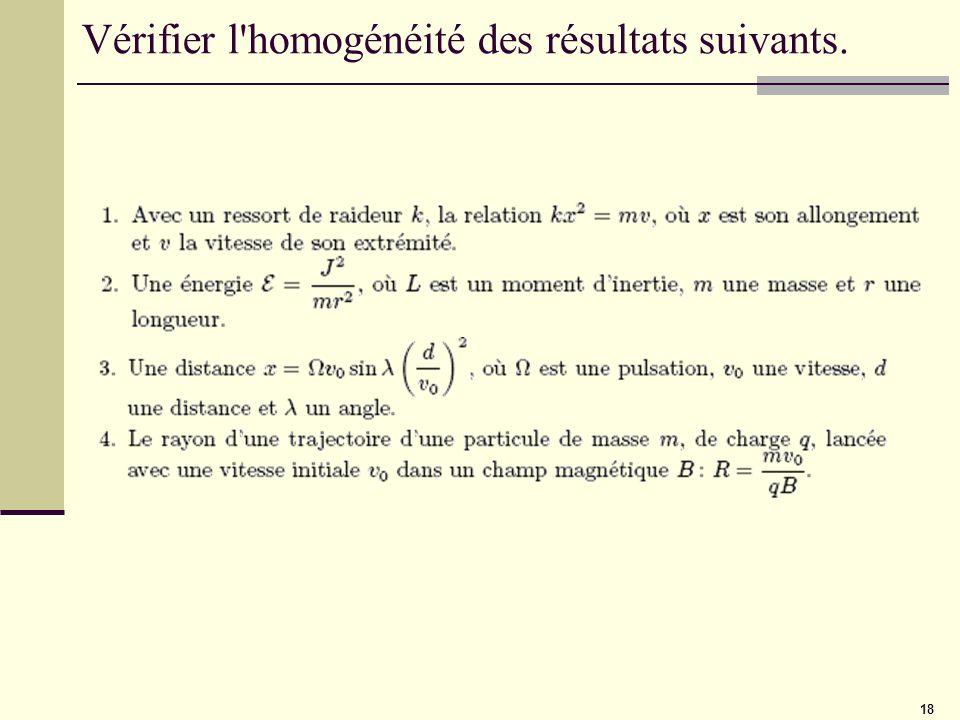 Vérifier l homogénéité des résultats suivants.