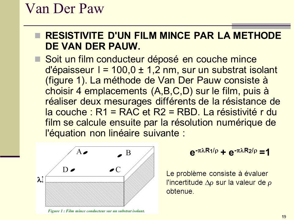 Van Der PawRESISTIVITE D UN FILM MINCE PAR LA METHODE DE VAN DER PAUW.