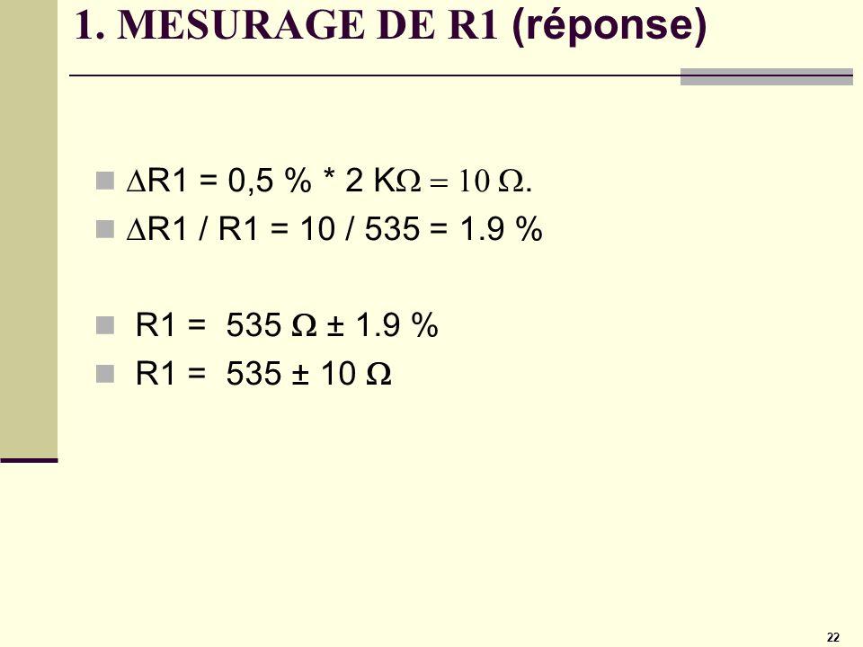 1. MESURAGE DE R1 (réponse)
