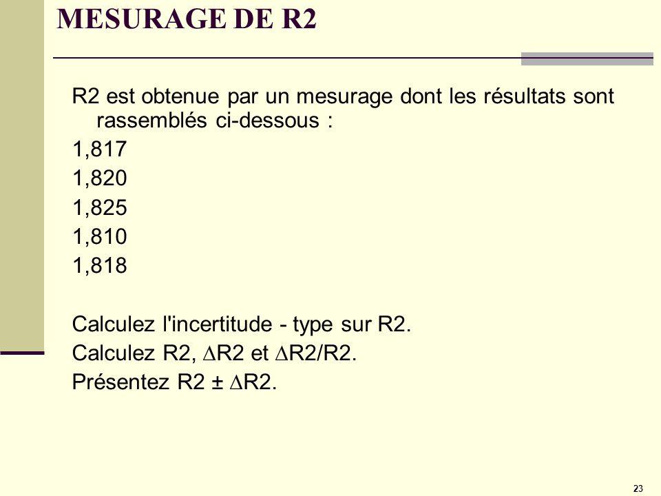 MESURAGE DE R2R2 est obtenue par un mesurage dont les résultats sont rassemblés ci-dessous : 1,817.