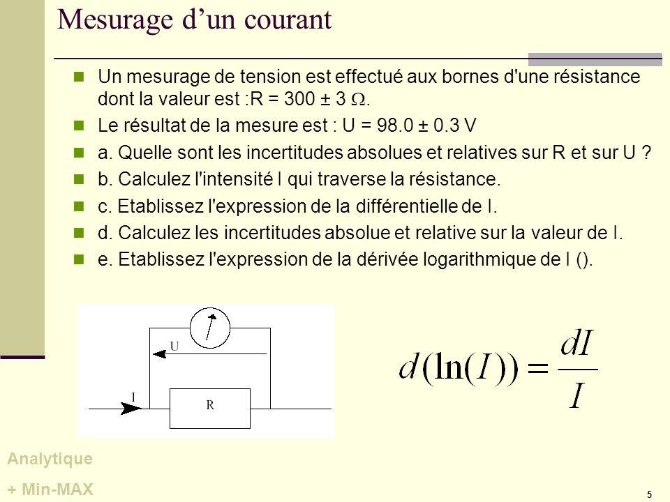 Mesurage d'un courant Un mesurage de tension est effectué aux bornes d une résistance dont la valeur est :R = 300 ± 3 W.