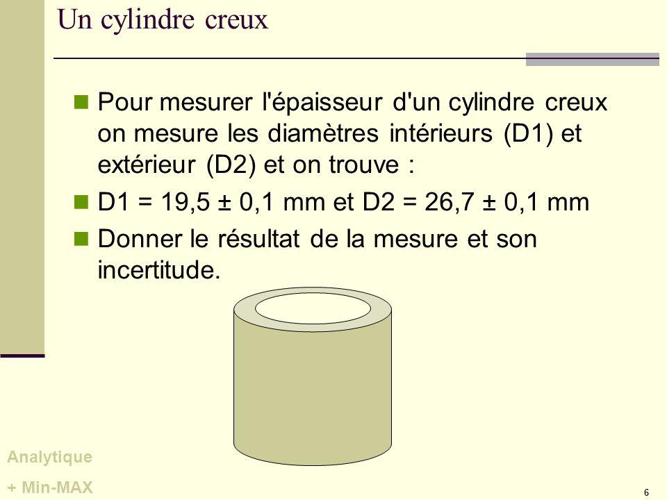 Un cylindre creux Pour mesurer l épaisseur d un cylindre creux on mesure les diamètres intérieurs (D1) et extérieur (D2) et on trouve :