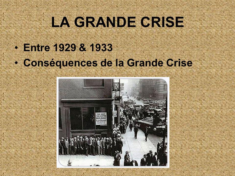 LA GRANDE CRISE Entre 1929 & 1933 Conséquences de la Grande Crise