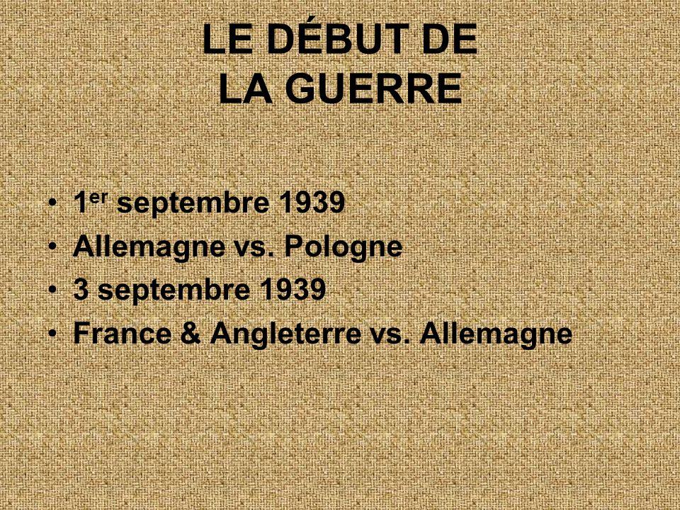 LE DÉBUT DE LA GUERRE 1er septembre 1939 Allemagne vs. Pologne