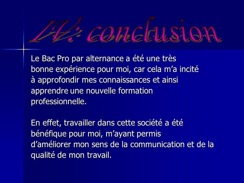 IV: conclusion Le Bac Pro par alternance a été une très
