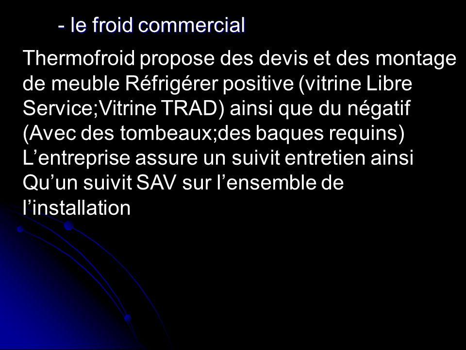- le froid commercial Thermofroid propose des devis et des montage. de meuble Réfrigérer positive (vitrine Libre.